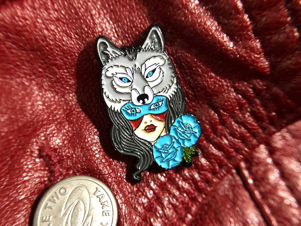 Winter Wolf Goddess Tattoo Soft Enamel Pin pinned on jacket