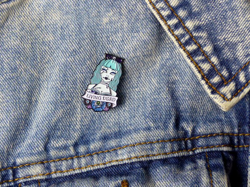 Living Dead Zombie Girl Tattoo Soft Enamel Pin on denim jacket