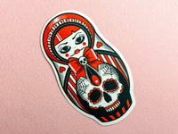 SWEET AS HELL Candy Skull Russian girl and Doll Tattoo Sticker