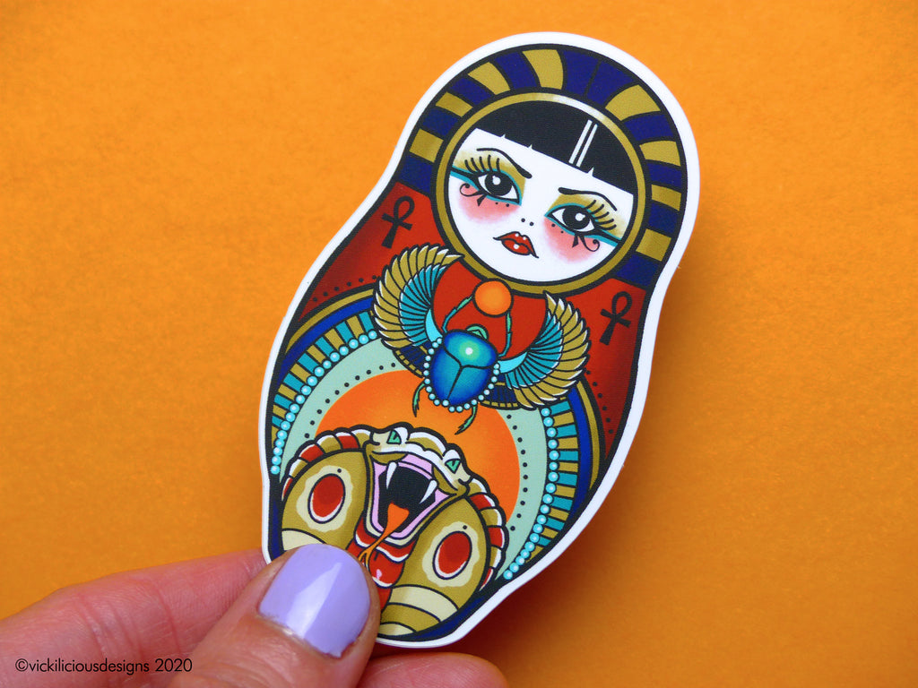 CUTE & CURSED Egyptian Russian Doll Tattoo Sticker