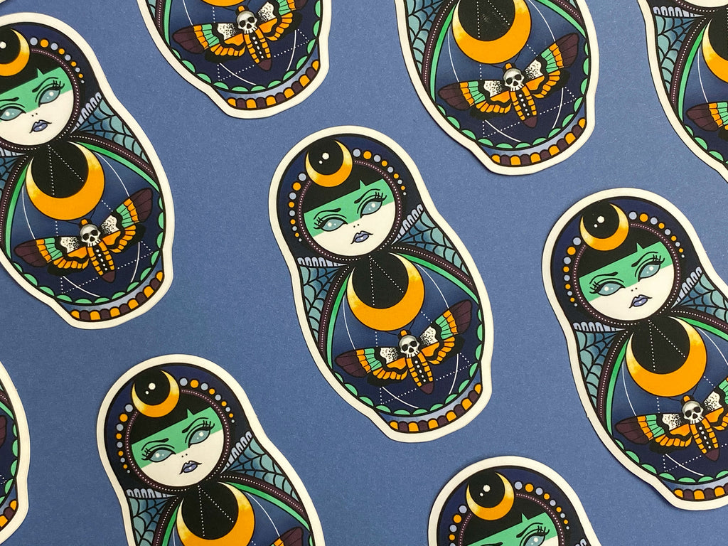 LUNAR WITCH Russian Doll Tattoo Sticker