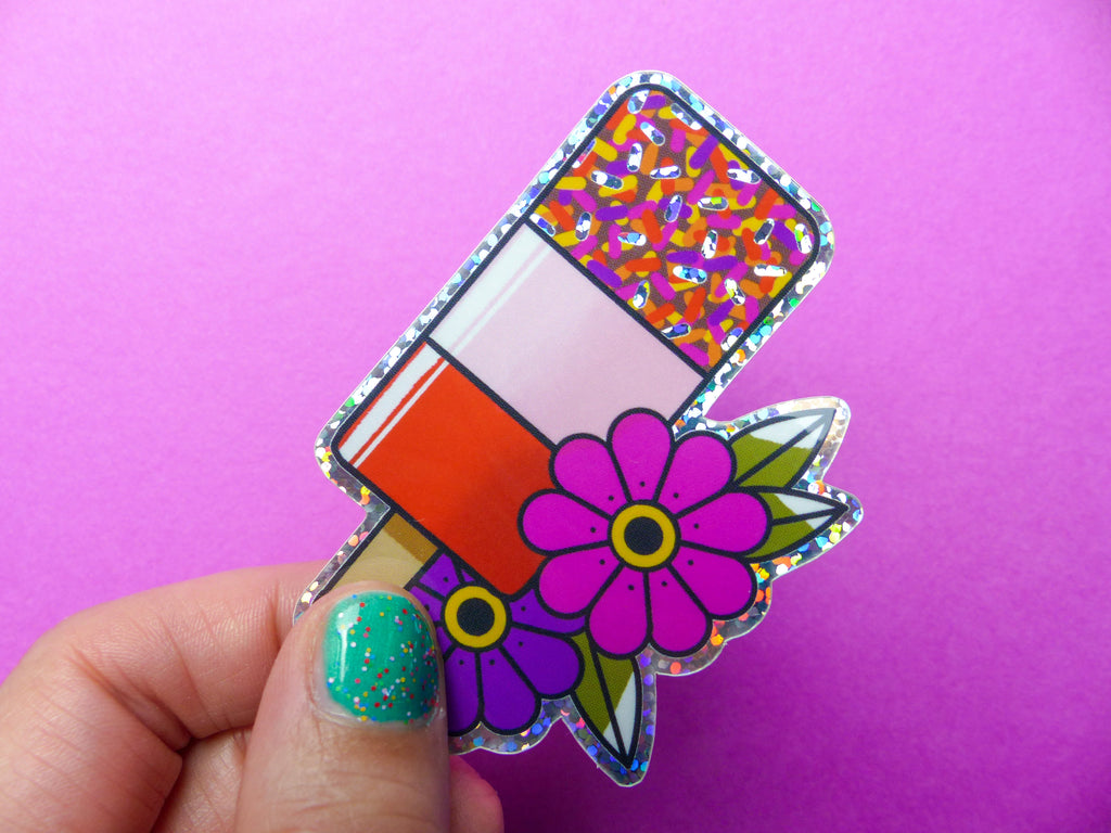 80s Fab Ice Lolly Tattoo Glitter Sticker