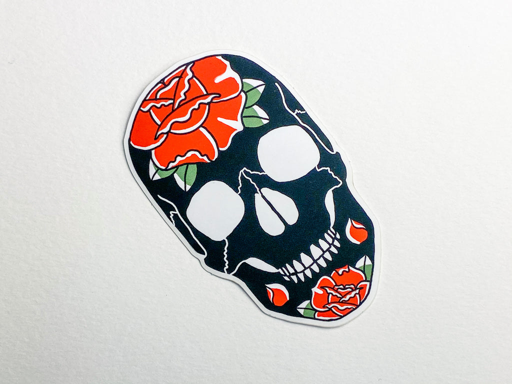 Skulls and Roses Tattoo Sticker
