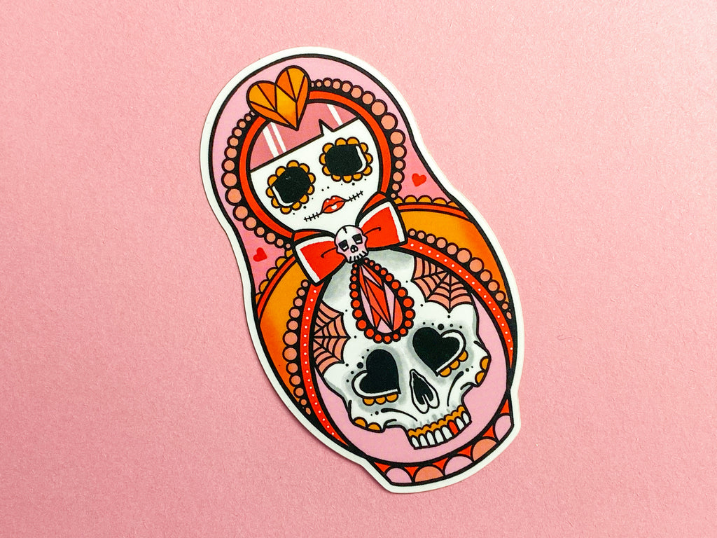 DEAD CUTE Crystal Sugar Skull Russian Doll Tattoo Sticker