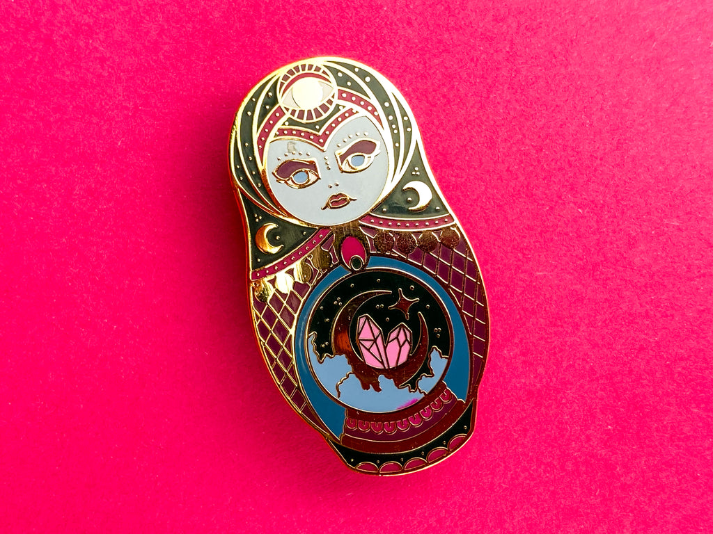 PSYCHIC WITCH Mystic Russian Doll Hard Enamel Pin