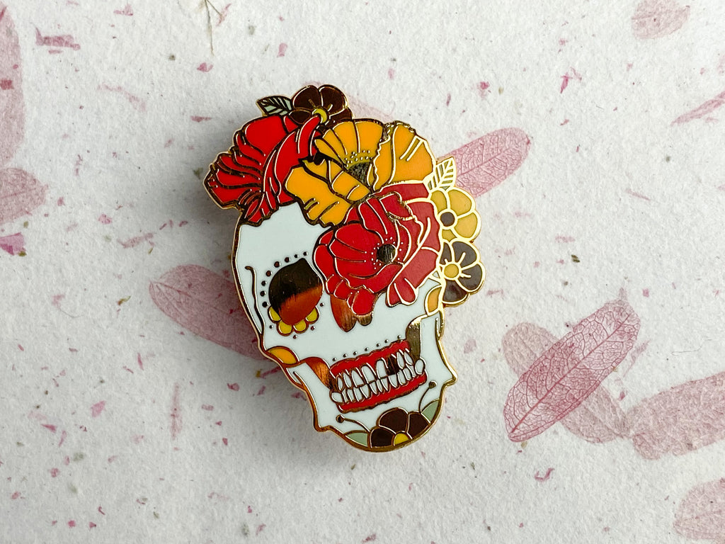THE ART OF REMEMBRANCE Day of the Dead Poppy Sugar Skull & Hard Enamel Pin