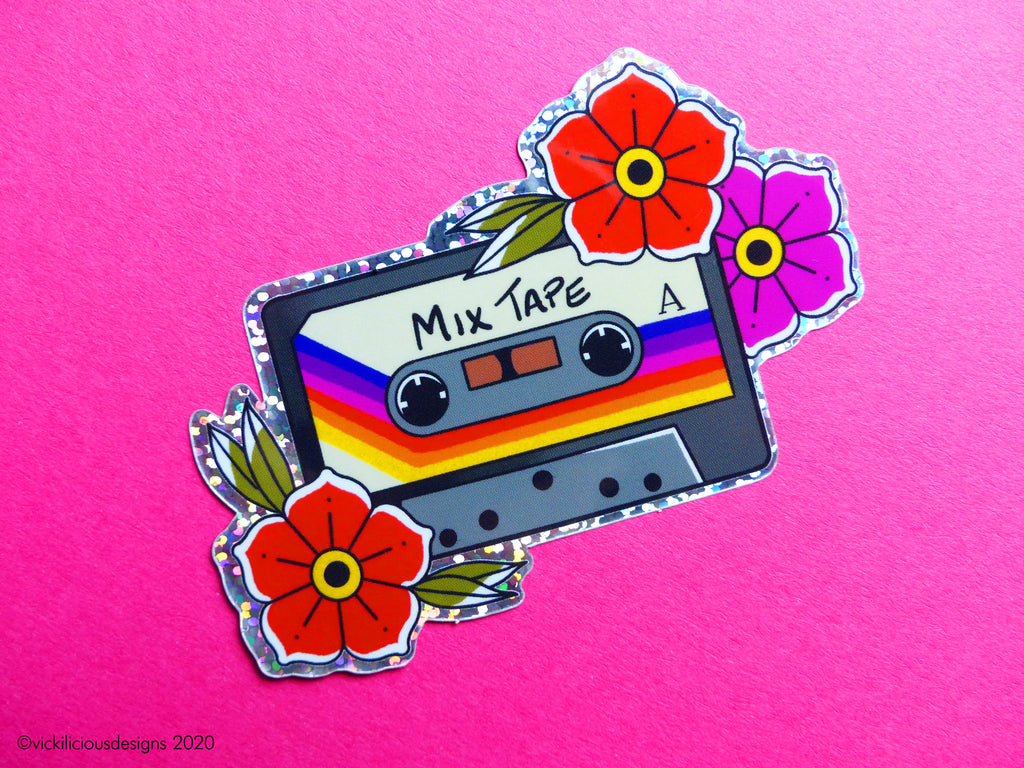 Rainbow 80s Cassette Tape Tattoo Glitter Sticker