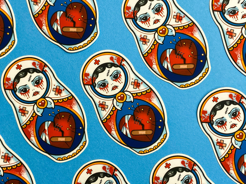 SICK Bloody Cute Nurse Russian Tattoo Sticker