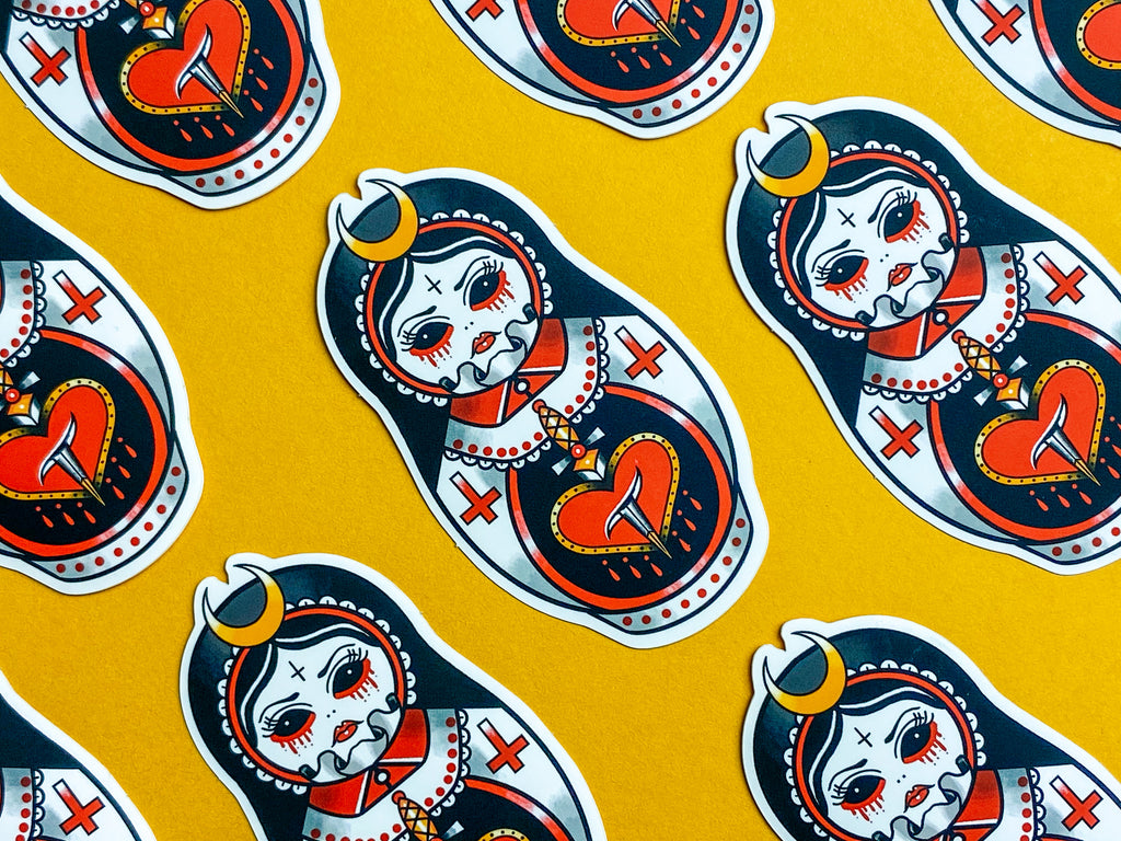 (S)AINT PSYCHO Demon Choir Girl Russian Doll Tattoo Sticker