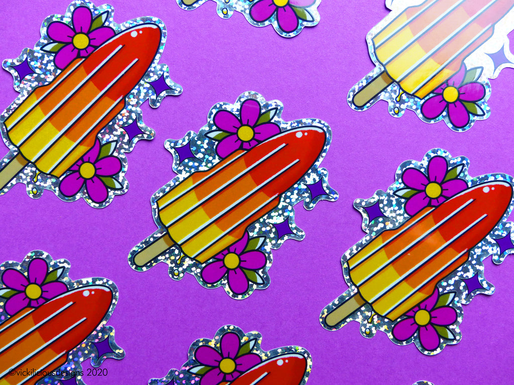 80s Rocket Lolly Tattoo Glitter Sticker