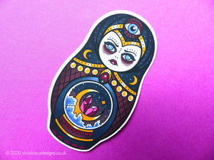 PSYCHIC WITCH Mystic Russian Doll Tattoo Sticker