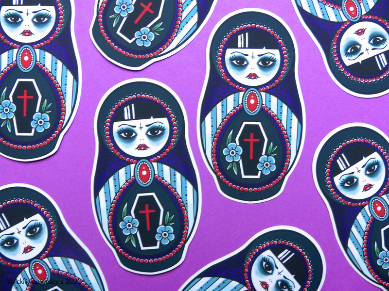 SORTA SPOOKY Vampire Russian Doll Tattoo Sticker