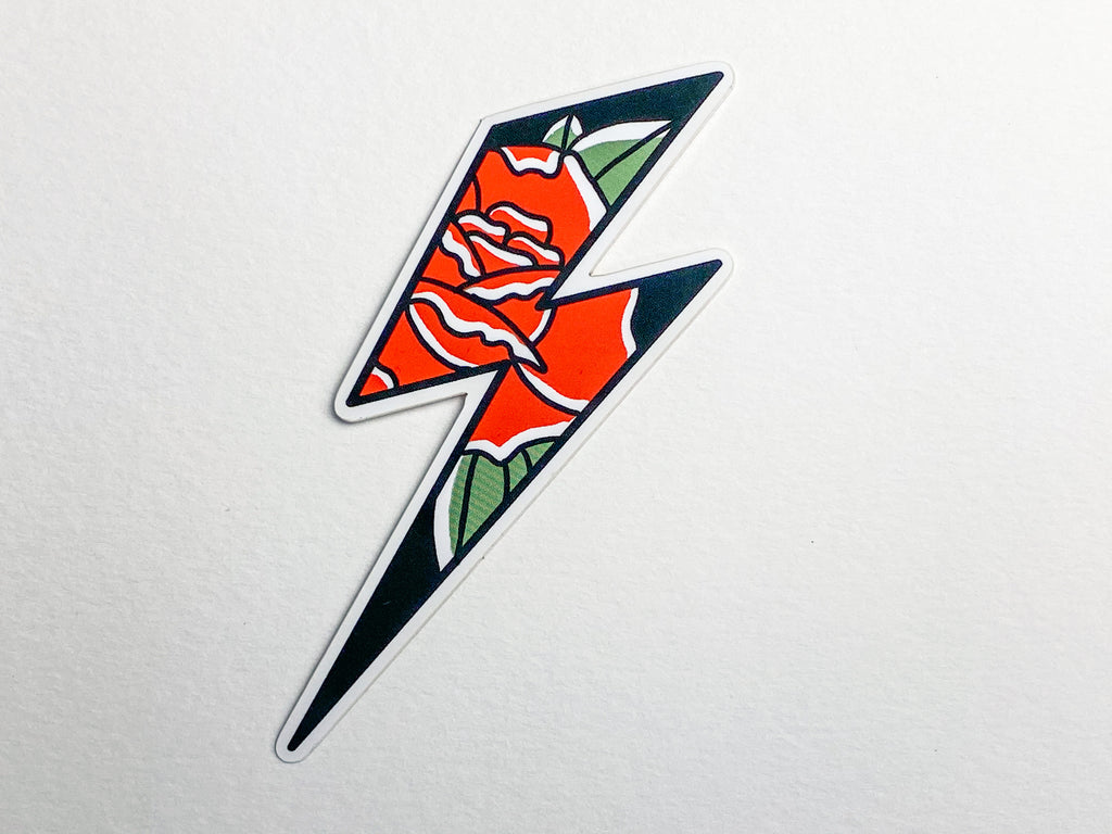 Love-struck lightning bolt and Roses Tattoo Sticker