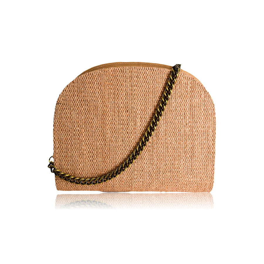 JANE NATURAL JUTE HANDMADE SEMI-CIRCLE CHAIN SHOULDER BAG