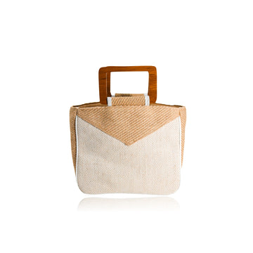 MYRA NATURAL JUTE SQUARE TOP HANDLE TOTE