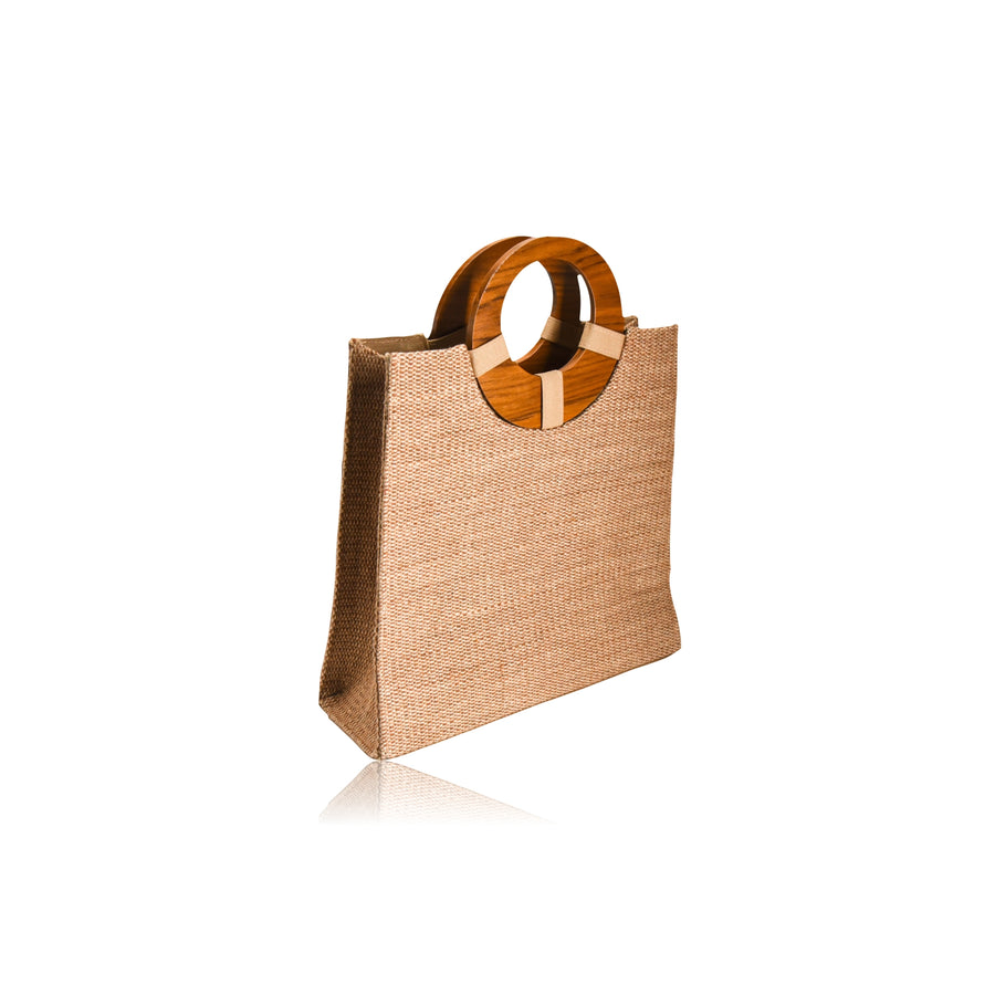 MIA NATURAL JUTE HANDMADE ROUND TOP HANDLE TOTE