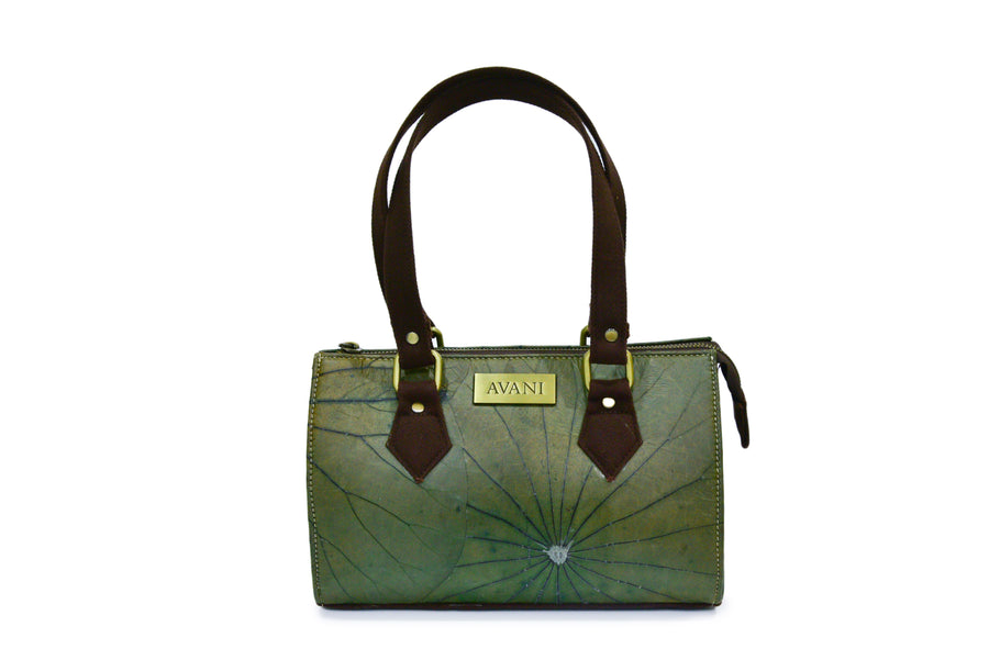 CLARA NATURAL LOTUS HANDMADE SHOULDER BAG (GREEN)
