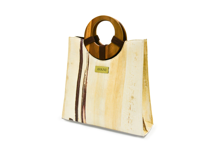 MIA NATURAL BANANA HANDMADE ROUND TOP HANDLE TOTE