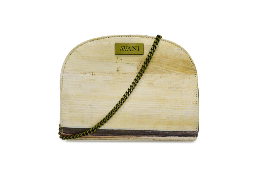 JANE NATURAL BANANA HANDMADE SEMI-CIRCLE CHAIN SHOULDER BAG