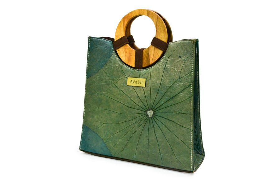 MIA NATURAL LOTUS HANDMADE ROUND TOP HANDLE TOTE (GREEN)
