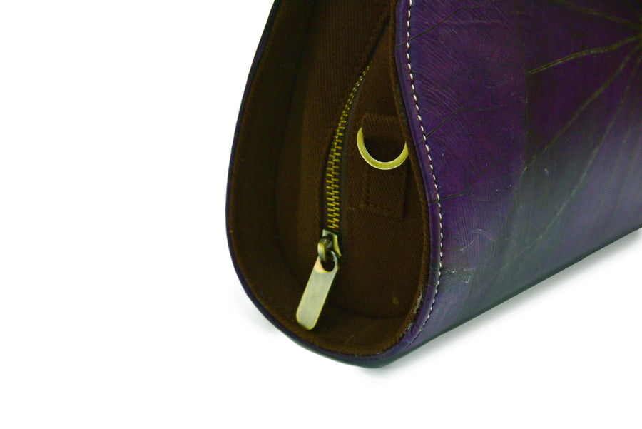 JANE NATURAL LOTUS HANDMADE SEMI-CIRCLE CHAIN SHOULDER BAG (DEEP PURPLE)