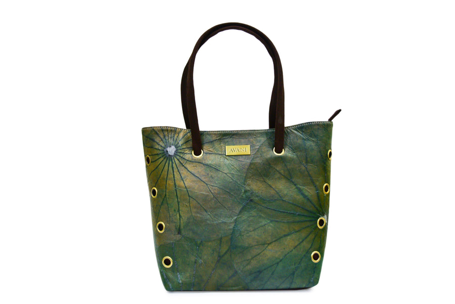 LUNA NATURAL LOTUS HANDMADE LARGE TOTE (GREEN)