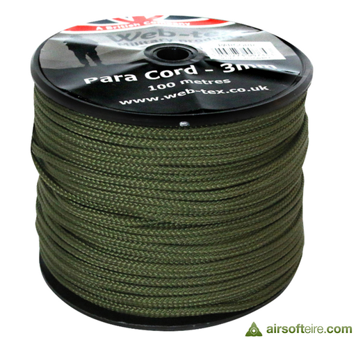 Web-Tex Web-tex 3mm Olive Drab Paracord - 100 Metres