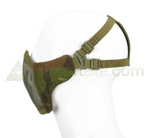 Invader Gear Mesh Half Face Mask With Cheek Pads - Woodland