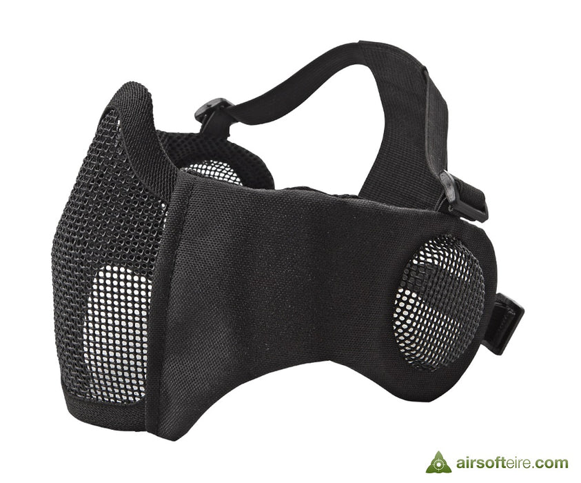 ASG Mesh Half Face Mask With Cheek Pads & Ear Protection - Black