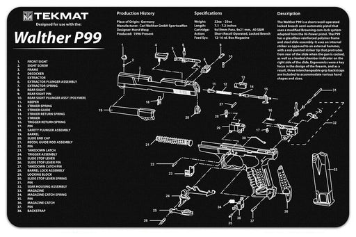 TekMat Walther P99 Exploded Work Mat