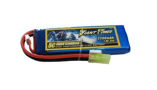 Giant Power 7.4V 2200mAh 35C LIPO Battery - Small Type