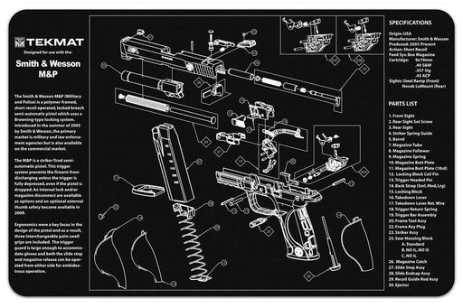 TekMat Smith & Wesson M&P9 Exploded Work Mat