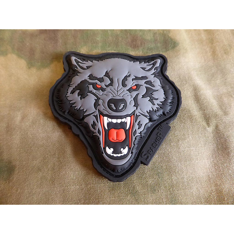 JTG 3D Rubber Angry Wolf Head Patch