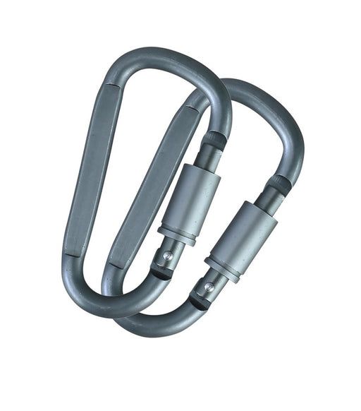 Gunmetal Grey Locking Carabiners Pair - 8mm