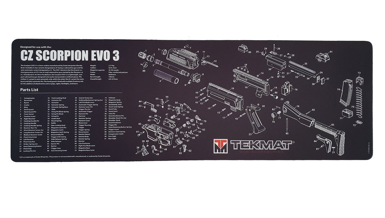 TekMat CZ EVO 3 A1 Exploded Work Mat