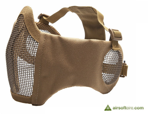 ASG Mesh Half Face Mask With Cheek Pads & Ear Protection - Tan