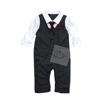 Gentlemen Suits Baby Romper + Tie