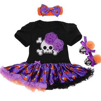 Skull Pirate Dress, Headband, and Shoes