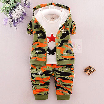 Camouflage Hoodie, Shirt, and Trousers Set