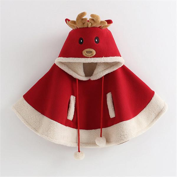 Cartoon Cloak Reindeer Pompon Embellished Cape