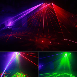 DMX 4 Lens RGB Colorful Laser & Pattern Light