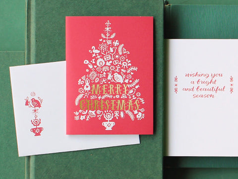 Festive Folk Tree Christmas Card
