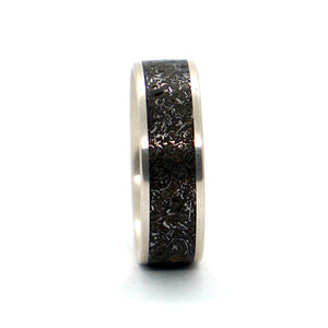 A sterling silver and meteorite ring by Ebeniste Wood Rings.