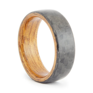 Carbon fiber and mahogany wood  ring by Ebeniste Wood Rings