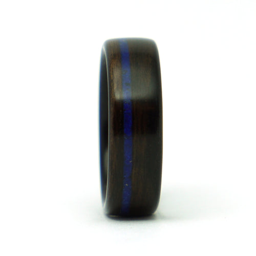 Size 10 Ebony Wood Ring with Lapis Lazuli Inlay