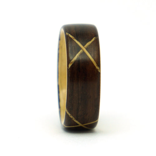 Ebony and ash stitch wood ring by Ebeniste