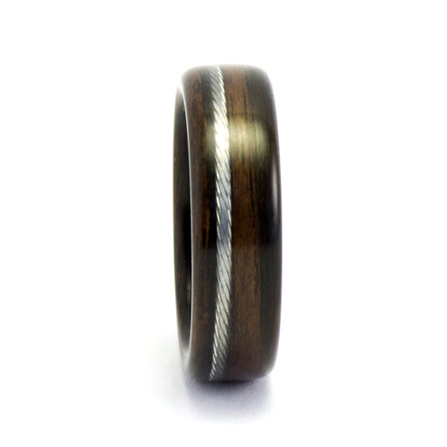 Ebony and bicycle cable wood ring by Ebeniste