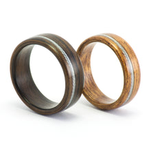 Load image into Gallery viewer, Ebony, mahogany, and bicycle cable wood rings by Ebeniste