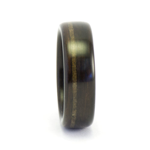 Ebony wood and meteorite ring by Ebeniste