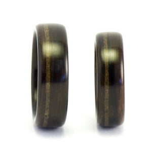 Ebony wood and meteorite rings by Ebeniste
